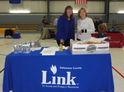 Pennsylvania Link to Aging and Disability Resources Delaware County co-sponsored the Energy Fair along with the County Office of Services for the Aging (COSA). Pictured are Sheelah Weekes (left), Deputy Director at COSA, and Joanna Geiger (right), Link Coordinator.