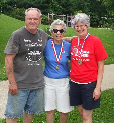 Horseshoe medalists: Matt Brady, Anne Shuster, and Janet Hammett