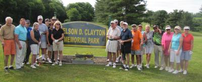 County Councilman Dave White,(second from left), poses with 9 Hole golfers at Clayton Park golf course.