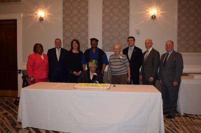 Denise Stewart, COSA Director; Michael Culp, councilman; Colleen Morrone, Vice Chair, Delaware County Council; Agnes Nelson, centenarian and guest; Sye Brandman, centenarian; Kevin Madden, councilman; Brian Zidek, councilman; John McBlain, Chairman, Delaware County Council
