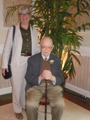 seated: Bill Nute,of the Quadrangle in Haverford, age 100