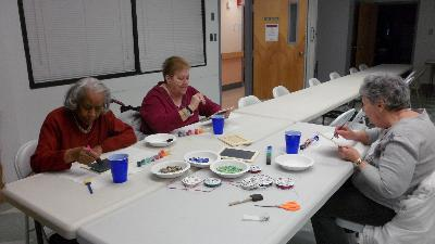 Creating mosaics at Friendship Circle Senior Center