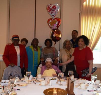 Eleanor Lansdowne, of St. Francis in Darby, age 102, and her many family members gather for this joyous celebration.