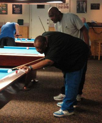 Junis McDonald and Eugene Allston competing in Men's Doubles Billiards.