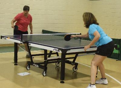 Helene Roth and Marianne Sterin compete in Women's Singles Table Tennis.