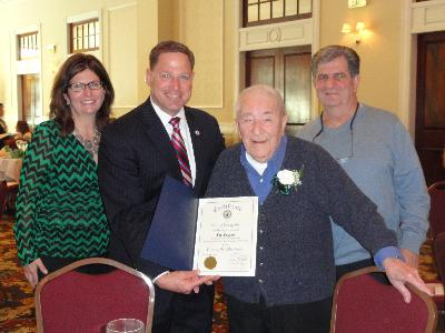 Council member, David J. White, with Joe Favazza. Mr. Favazza will turn 100 years old on July 3.