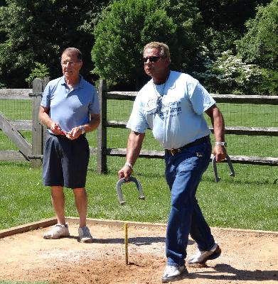 Bill Gant and Joe Crisante compete in Men's Horseshoes at Veteran's Memorial Park in Broomall.