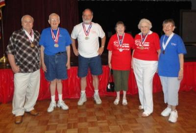 Wii Bowling medalists: Paul LaFrance, Joseph Spence, Larry Campbell, Anna Browne, Dolly Lawson, and Audrey Poole