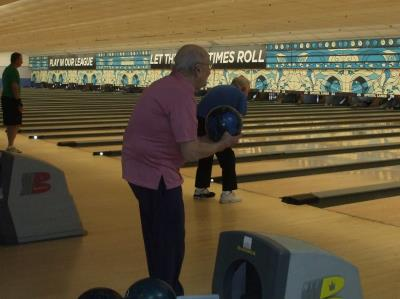 Sye Brandman, age 102, bowls over the crowd at Singles Bowling at Sproul Lanes.