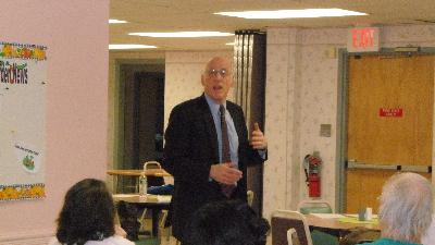 Dr. Barry Jacobs, Psy. D. speaks to caregivers at Friendship Circle Senior Center.