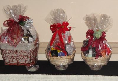 A few of the gift baskets for raffle prizes