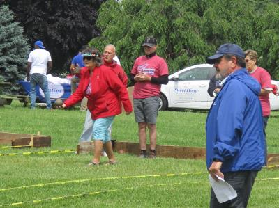Defending gold medalist,Barb Lenzi, competes in Bocce.