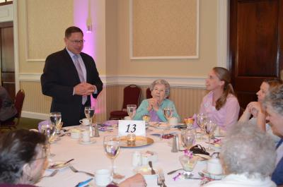Delaware County Councilman, David J. White, speaks with guests at the Centenarian luncheon.