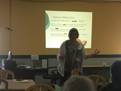 Presenter, Mary Sullivan, speaks to the group about fall prevention and safety in the home.