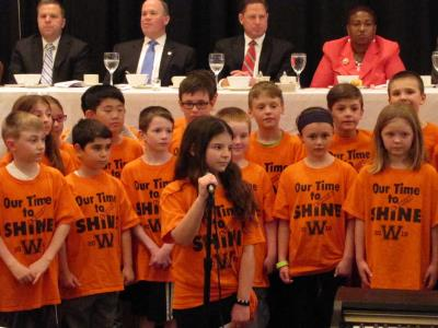 Students from Worrall Elementary School in Broomall entertain the guests.