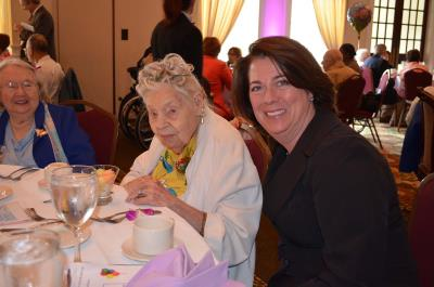 Marion Roth, 106, of White Horse Village, and Colleen P. Morrone, Delaware County Council Vice-Chairman
