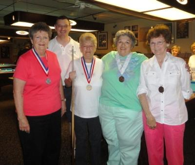 Billiards medalists:Joan Barksdale, Ann Imbrenda, Sandy Baron, and Betty Zelesnick with Stephen Gamble, co-chair of the Delaware County Senior Games.
