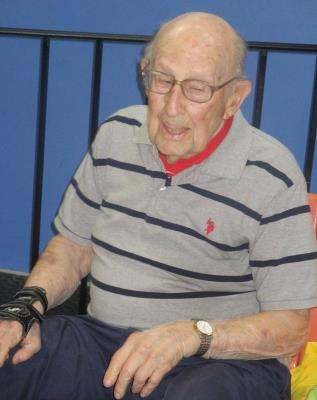Sye Brandman, age 100, the Senior Games' oldest athlete, competes in Singles Bowling at Sproul Lanes.